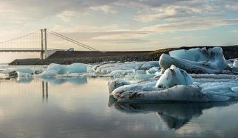 Reflection of ice cubes at Jokulsarlon Glacier Lagoon