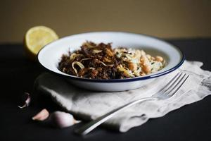 Pulled beef meat with wild rice and chickpeas, ropa vieja