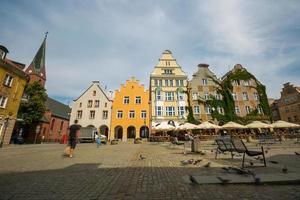 olsztyn, polonia - 21 de agosto de 2015: casas medievales de olsztyn