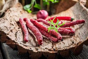Homemade kabanos sausages in cellar