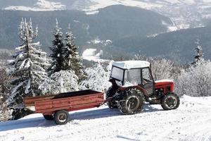 Tractor with trailer in winter