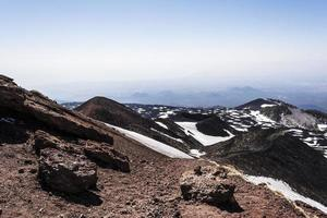 Mount Etna peak with snow and volcanic rocks, Sicily, Italy