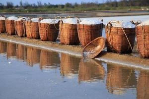 Baskets of salt in Can Gio, Vietnam photo