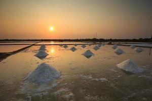 Salt field in sunset or sunrise in Can Gio, Vietnam