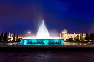Monastery of the Hieronymites and fountain at night photo