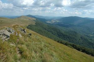 Rock on trail in Bieszczady mountains