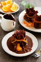 Pancakes with orange and chocolate. photo