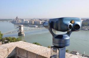 Retro telescope and blurred city of Budapest