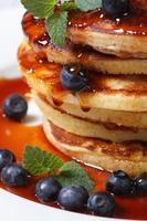 Blueberry pancakes with maple syrup and mint macro