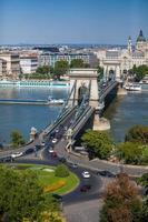 ponte de correntes de Szechenyi, Budapeste, Hungria