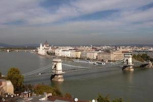 Puente de las cadenas sobre el Danubio en Budapest