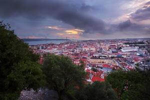 Lisbon city in sunset from above