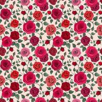 Colorful Detailed Roses Pattern Background vector