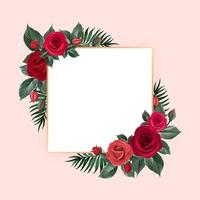 Floral Frame with Red Vintage Roses and Leaves vector