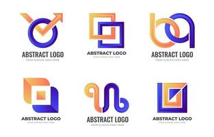 Orange and Blue Abstract Logo Collection vector