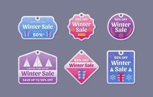 Winter Season Sale Labels vector