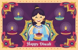 A Woman Celebrate Dewali Festival with Diya vector