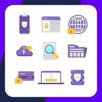 Simple Cyber Security Icon Collection vector