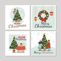 Christmas Greeting Cards with Lettering vector
