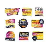 Futuristic Cyber Monday Sale Label Pack