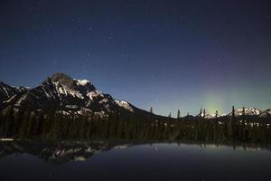 Glowing northern lights in Jasper National Park at night