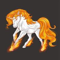 Unicorn with fire on hooves vector