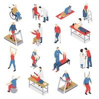 Isometric set of people doing rehabilitation and physiotherapy