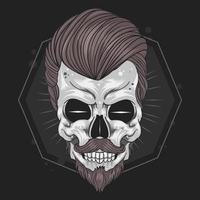 Skull head with hairstyle vector