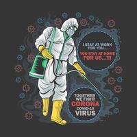 Hombre en traje rociando diseño de coronavirus