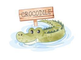 Cartoon Crocodile in Pond with Wood Sign vector