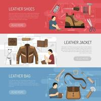 Hand-made leather products banner set vector