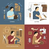 Process of leather production set vector