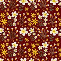 White and Yellow Flower Seamless Pattern