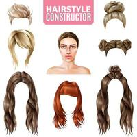 Realistic hairstyle constructor set vector