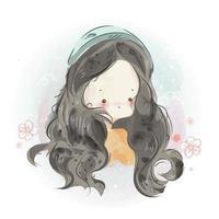 Hand drawn cute little girl with long hair vector