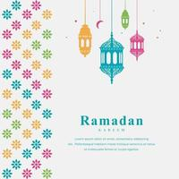 Eid Mubarak card with colorful border and hanging lanterns