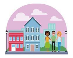 grupo de personajes de dibujos animados en la ciudad vector