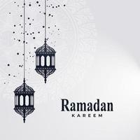 Ramadhan Kareem card with hanging lanterns and emblem vector
