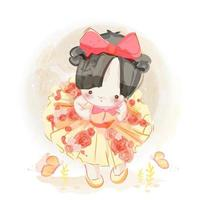 Hand drawn cute little girl with red bow vector