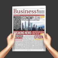 Hands holding a realistic newspaper template vector