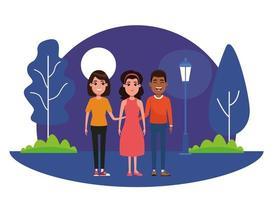 grupo de personajes de dibujos animados al aire libre por la noche vector