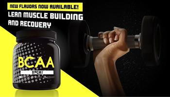 BCAA container advertisement with hand holding dumbbell