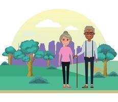 pareja de ancianos de dibujos animados al aire libre