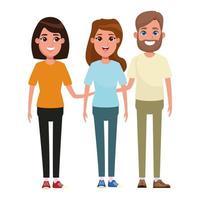 grupo de personaje de dibujos animados de pie