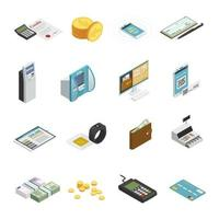 Isometric payment methods icon set