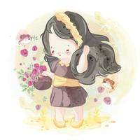Hand drawn lovely girl with basket of flowers vector
