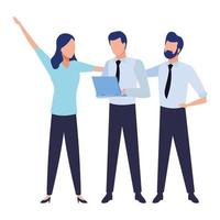 Compañeros de trabajo de negocios con brazos extendidos y portátil