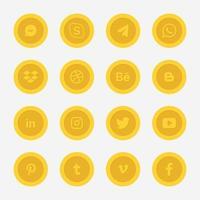 colección de logotipos de redes sociales del círculo dorado vector