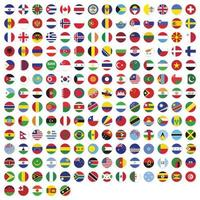 Round flags of the world collection vector