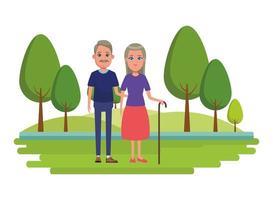 Eldery cartoon chracter couple outdoors